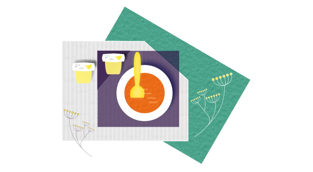 Eine grafische Darstellung für ein Essen-Ritual mit Kleinkind; neben einer Breimahlzeit stehen zwei Fruchtquarkbecher